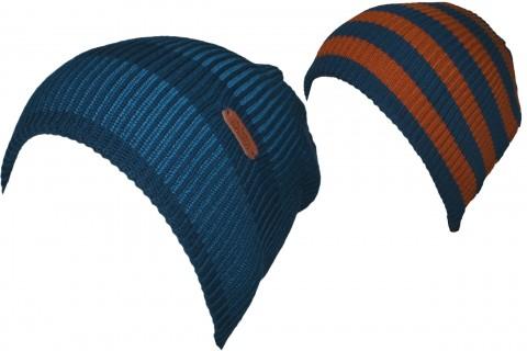 Wendemütze aus Baumwollstrick gerippt in Petrol Blau / Braun, Halbbeanie von MAXIMO 353100