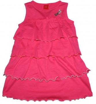 Luftig leichtes Hängerchen Kleid in Pink mit Volants & Rollsaum Abschlüssen von S.OLIVER 3055
