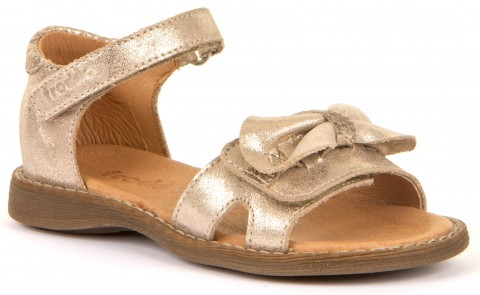 Zauberhafte Ledersandale in hellem Gold Glitter mit Klett von FRODDO G3150152-1