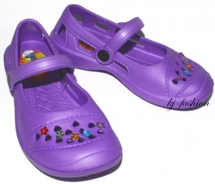 Ultraleicht Pantolette / Badeschuhe / Sandale von Fashy mit Blüten Pins in Lila Gr.Wahl 7488